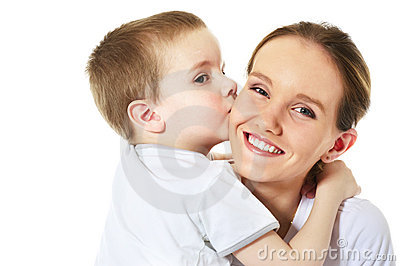 Son kisses his mum
