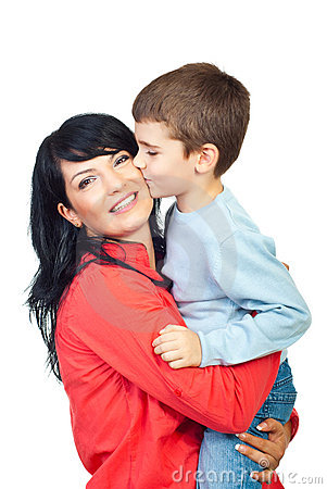 Free Son Kissing His Mother Cheek Royalty Free Stock Photo - 16273695