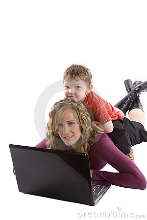 Son with mom computer