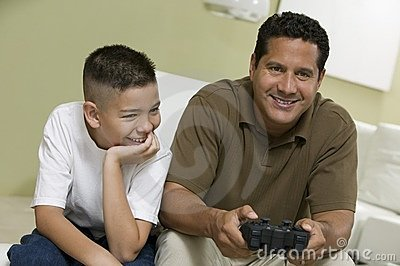 Sonfather Playing Video Game