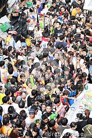 Free Songkarn Festival At Silom Road, Bangkok, Thailand 15 April 2014 Royalty Free Stock Photography - 39913837