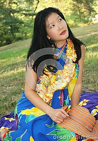 Sonho fêmea bonito de Havaí