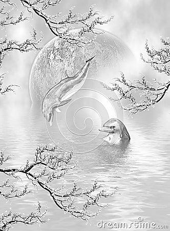 Sonhos de prata do golfinho