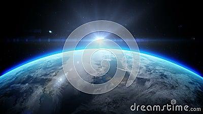Sonnenaufgang über Erde, wie vom Raum gesehen Mit Sternhintergrund realistische Animation 3d stock abbildung