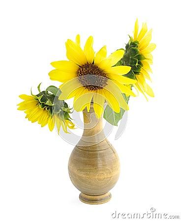 sonnenblumen im vase auf wei lizenzfreie stockbilder bild 13339589. Black Bedroom Furniture Sets. Home Design Ideas