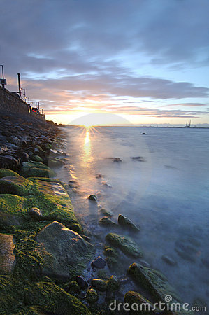 Sonnenuntergang über Dublin-Schacht