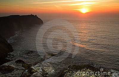 Sonnenuntergang an den Klippen von Moher