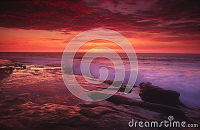 Sonnenuntergang an der La- Jollabucht in San Diego