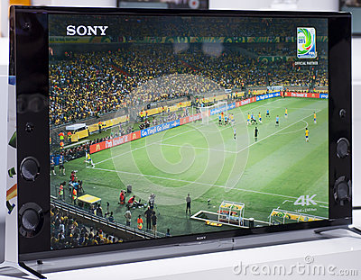 SONY 4K TV, MOBILE WORLD CONGRESS 2014 Editorial Stock Image