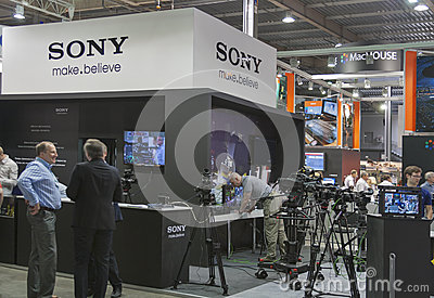 Sony TV equipment booth Editorial Stock Photo