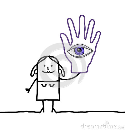 Soothsayer with big eye in her hand