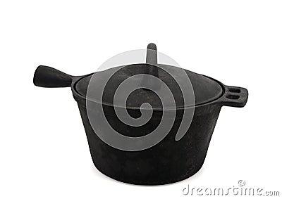 Sooty cast-iron pot