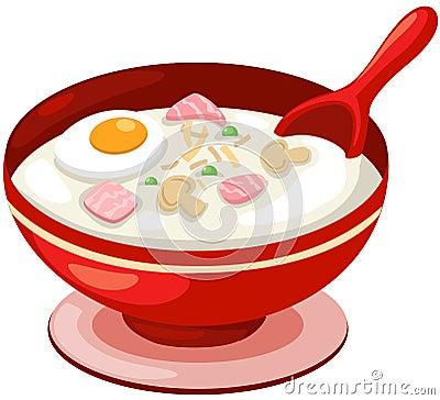 Sopa do arroz com ovo
