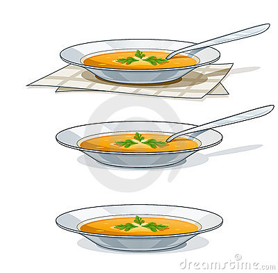 Sopa en la placa blanca con la cuchara