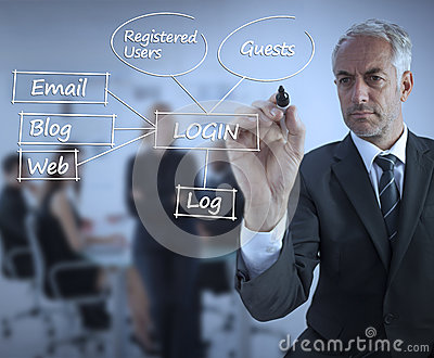 Sophisticated businessman writing login terms