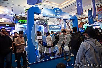 Soporte de Intel en la demostración de juego de Indo 2013 Foto de archivo editorial