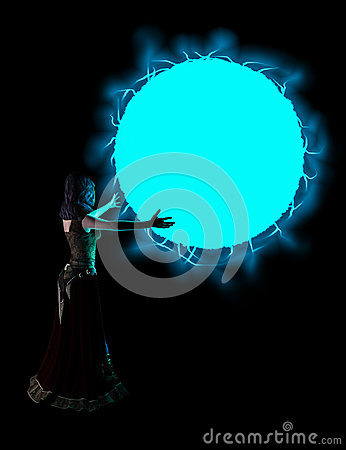 Sorceress Casting Blue Fireball Spell Illustration