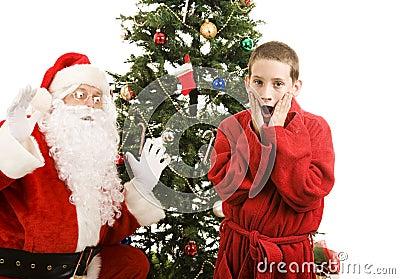 Sorpresa di natale del bambino e della Santa