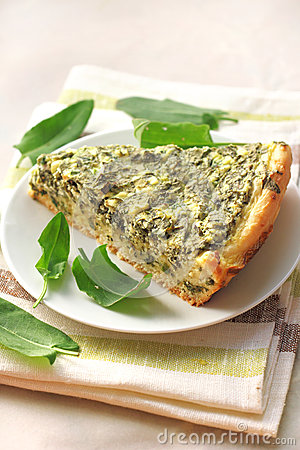 Free Sorrel Tart With Goat Cheese Stock Photography - 31044212