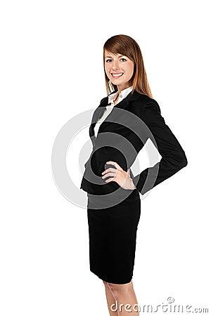 Sorriso da mulher de negócios. Isolado no branco