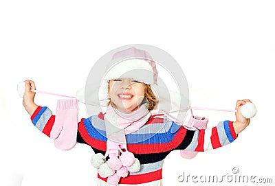 Sorriso Toothy do gilr do inverno