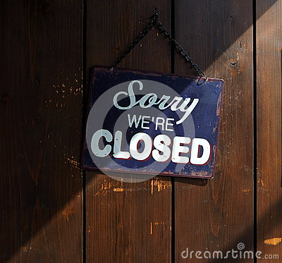 Free Sorry We`re Closed, Blue And White Sign On Old Wooden Door, With A Shadow That Divides It Into A Clear And Dark Part Royalty Free Stock Image - 98500006