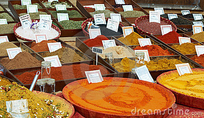 Sort of spices at Provence market