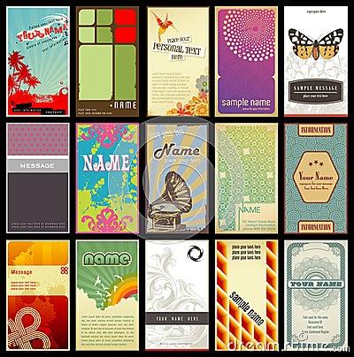 Sortierte Retro- Visitenkarten - verschiedene Arten