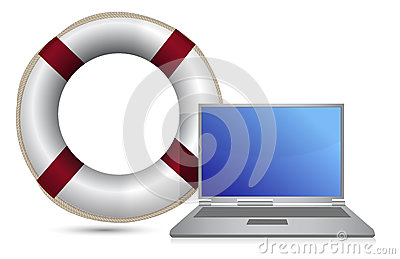 Sos lifesaver laptop illustration design