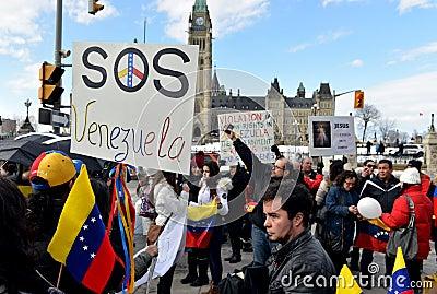 SOS Venezuela protest in Ottawa Editorial Image