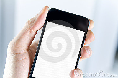 Sostener Smartphone en blanco