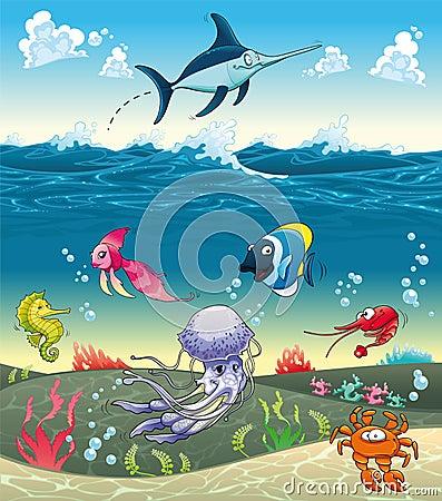 Sotto il mare con i pesci ed altri animali.