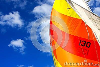 Sotto la vela su una barca a vela