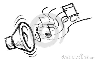 Stock Photography Sound Icon Crayon Sketched Illustration Speaker Musical Notes Image36344852