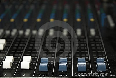 Sound mixer board faders
