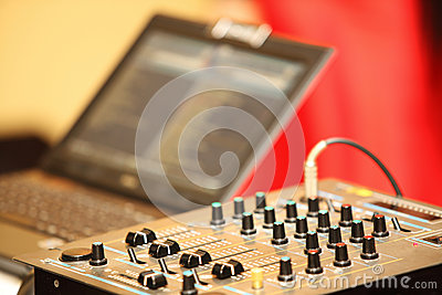 Sound mixer control panel audio mixing console