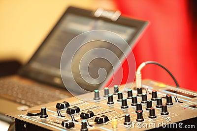 Sound mixer control panel audio mixing console