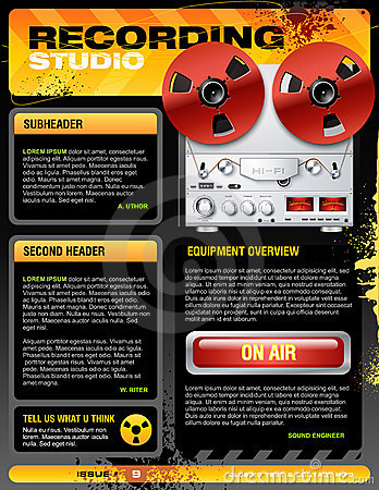 Sound recording studio brochure flyer vector