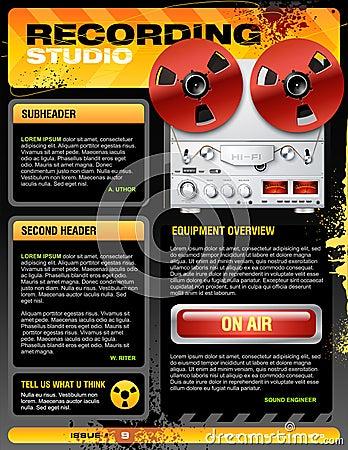Sound recording studio brochure flyer vector