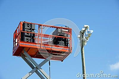 Sound speakers on lift platform