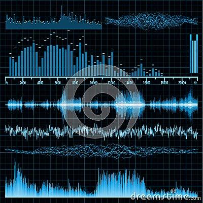Free Sound Waves Set. Music Background. EPS 8 Stock Image - 19861431