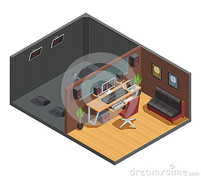 Free Soundbox Interior Isometric Composition Royalty Free Stock Image - 86226946