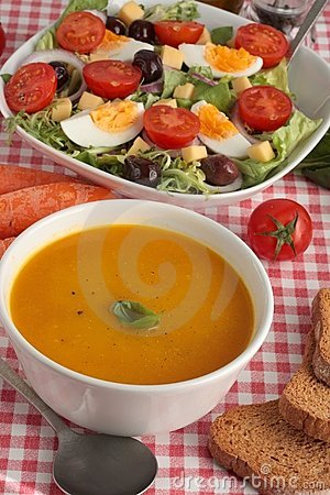 Free Soup And Salad Royalty Free Stock Photos - 17875508