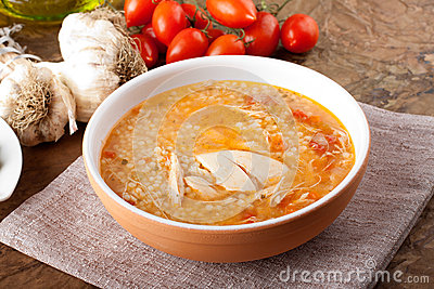 Soup with chicken broth