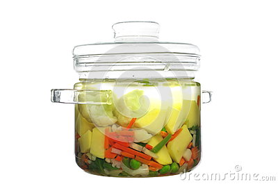 Soup in glass pot