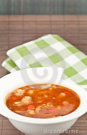 Soup and napkin