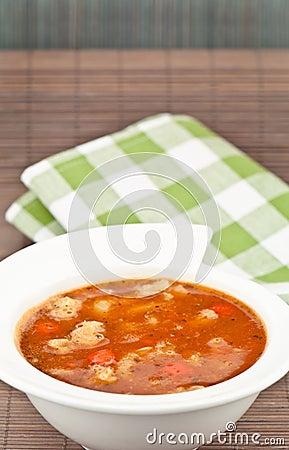 Soup and napkin