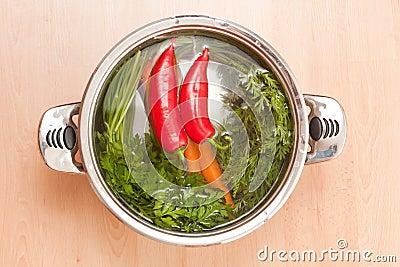 Soup preparation.