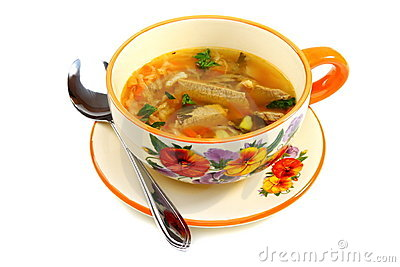 Soup of the sauerkraut in a bowl.
