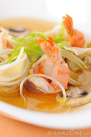 Soup with seafood Stock Photo